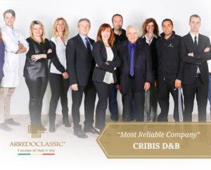 """Per Arredoclassic il traguardo finanziario: Cribis D&B """"Most Reliable Company"""""""